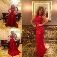Wholesale Red Carpet Stars Dresses - 2016 Arabic Star Myriam Fares High Neck Red Lace Celebrity Dresses A Line Special Occasion Red Carpet Gown Evening Wears