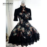 einteilige spitze kurze ärmel großhandel-Wholesale-2016 neue schwarze Baumwolle Qi Lolita einteiliges Kleid kurzen Ärmeln Pfingstrose Print Lace Up
