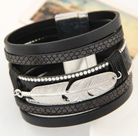Wholesale Top Charm Bracelet Brands - 5Colors European Magnet Leather Wrap Bracelet Women Crystal Bracelet Leaf Design Unisex Top Brand Men Bracelet Fashion Silver Charm Bracelet