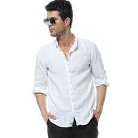 Wholesale Linen Mens Clothing - Wholesale- 2016 New White Linen Shirts Men Long SLeeve Slim Casual Shirts Mens Clothes camisa masculina shirt men brand clothing100kg wear