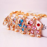 Wholesale men elephant ring - Colorful Cute Elephant Luxury Keychain Key Chain & Key Ring Holder Gift Men Women Souvenirs Bag Car ornaments