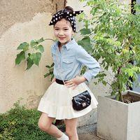 Wholesale Denim Girl Shirts - Kids Girl Spring Denim Shirt Lapel Pure Color Long Sleeves Cowboy Blouse Shirt Casual Kids Fashion Clothing