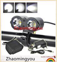 Wholesale Battery Mountain Bike - 5000 Lumens 2x XML L2 LED Bicycle Front Light LED MTB Mountain Cycling Bike Light Headlight Lamp+ Battery + Charger
