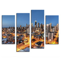 Wholesale Landscape Lighting Paintings - 4 Picture Combination Canvas Art Wall Art Painting Skyscrapers With Golden Light At Night Picture Print On Canvas City