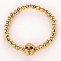 Wholesale Skull Macrame Bracelet - Anil Arjandas Skull Bracelet Micro Pave CZ Zircon Skeleton 4MM Brass Beads Braiding Macrame Bracelets Gift for Men's Women