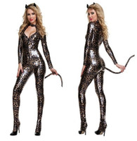 Wholesale Spandex Costume Catwoman - Halloween Carnival Adult Women Animal Costumes Deluxe Leopard Catwoman Cat Costume Catsuit Fancy Cosplay Clothing for Women