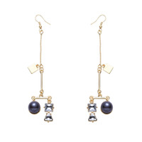 Barato Brincos De Ouro 24k Banhados Pendem-Bohemia Geometry Crystal Earrings Declaração Rhinestone Dangle Earrings 24K Gold Plated Water Drop Long Beads Earrings Lovely Gifts