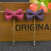 Wholesale Wholesale Men Suit Fabrics - Price Cheap Fashion Bow Brooch lapel Pins handmade Boutonniere Stick with fabric cloth flower for Gentleman suit Men Accessories, 11 colors