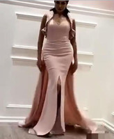 Wholesale Hunter Matte Satin - 2017 Pink Split Prom Dresses Sheath Sweetheart Matte Crepe Evening Gowns with Fixed Blingbling Sequined Fabric Wrap And Sweep Train