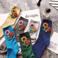 Wholesale Wholesale Luxury Socks - High Quality Fashion Glitter Rhinestone Women Socks 2017 Autumn Winter Manual Luxury Beaded Diamonds Flowers Knit Sockings Christmas Gifts