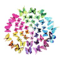 Wholesale Order Live Butterflies - New 12pcs 3D Butterfly Sticker Art Wall Mural Door Decals Home Decor Art DIY Decorations Paper For Home Fridge Decoration order<$18no track
