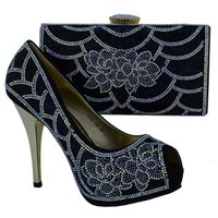 Wholesale Ladies Nice Dress - Hot sale high heel 12CM african shoes matching hand bag set with nice rhinestone ladies pumps for party dress 1308-L68 black