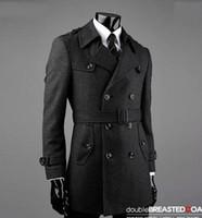 Wholesale Trench Size S Man - Fall-Belt winter Grey manteau homme wool coat men coat veste homme overcoat men trench coat fashion brand plus size M - 7XL 8XL 9XL