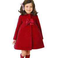 Wholesale Spring Bow Coat - Baby Girls Jackets and Coats Thick Outerwear with Bowknot Cute Long Coat Wool Blends Warm Overcoat Pink Red Purple Girl Winter Clothes