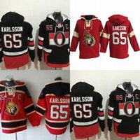 Wholesale Mens Hottest Hoodies - Hot Sale Mens Ottawa Senators 65 Erik Karlsson Best Quality Cheap Full Embroidery Logos Ice Hockey Hoodies Accept Mix Order Size S-3XL