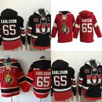 Wholesale Order Hoodies - Hot Sale Mens Ottawa Senators 65 Erik Karlsson Best Quality Cheap Full Embroidery Logos Ice Hockey Hoodies Accept Mix Order Size S-3XL
