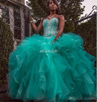 Wholesale Turquoise Ruffled Quinceanera Dress - Turquoise Plus Size Sweet 16 Party Debutantes Dress Ball Gown Ruffles Tulle Crystals Lace Up Sweetheart Custom Made Quinceanera Dresses 2016