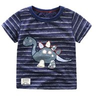 Wholesale Boys Dinosaur Shirts - 2016 Summer New Boy T-shirts Dinosaur Stripe Cartoon Cotton Short Sleeve T-shirts Children Clothing 6650