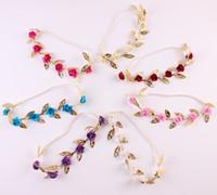alin taç takı toptan satış-Moda Tiara Saç Bandı Altın Yaprak Gül Çiçek Hairband Düğün Gelin Saç Aksesuarı Kadınlar Için Alın Takı