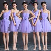 Wholesale Navy Bows For Wedding - Lavender Tulle Short Bridesmaid Dress With Bow Lace Up 2018 Knee Length Bridesmaid Gowns For Wedding