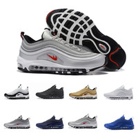 Venda Por Atacado Men Low Air 97 Almofada Respirável Casual Shoes Silver Gold Cheap Massage Running Flat Sneakers Man 97 Sports Outdoor Shoes 7-12