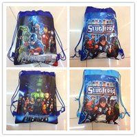 Wholesale Drawstring Shoulder Handbag - The Avengers 2 Age of Ultron 2016 Children Drawstring Bags Cartoon The Avengers Superhero Backpack Kids School Bag Handbag cheap