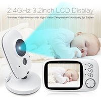 Wholesale Nightvision Ir - Video Baby Monitor Fetal Doppler 3.2inch LCD IR Nightvision 2 way talk 8 lullabies Temperature monitor video baby monitor dopler