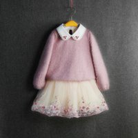 Wholesale pink ruffle sweater - Girls Wool Dresses With Velet Sequins Embroidered Flora Lace Collar TUTU Skirts Grenadine Fashion Girls Winter Thick Sweater Dresses 3-8T