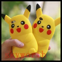 Wholesale Pokemon Iphone Case - Cute Cartoon 3D Poke Go Pikachu Soft Silicone Case For Iphone 7 6 6S Plus 5G 5S SE Samsung Galaxy J7 2016 Cover