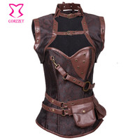 Wholesale Over Corset - Wholesale-Vintage Brown Brocade Steampunk Corsets And Bustiers Steel Boned Waist Training Armor Corset Sexy Gothic Over bust Corset