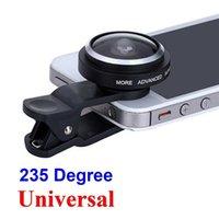 Wholesale Tablet Fisheye Lens - 235 Degree Super Fisheye Selfie Lens Universal Clip for Samsung Galaxy iPhone HTC LG Phones Tablets