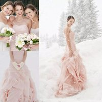 Wholesale Organza Flange Wedding - Cheap 2017 Blush Pink Boho Country Mermaid Wedding Dresses Elegant Strapless Flange Custom Made Organza Ruffles Sexy Trumpet Bridal Gowns