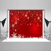 Wholesale Christmas Wall Backdrops - 7x5ft collapsible Red Christmas Background Wall Christmas Snowflake Backdrop Photography cleanable Kate HJ02486