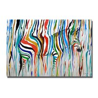 Wholesale picture oil knife resale online - abstract design cartoon animal zebra oil paintings hand painted knife oil paintng decorative wall picture