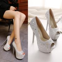 Wholesale Shining Diamond Shoes - 16cm Super High Heels Women Shine Diamond Sexy Peep Toe Pumps Lady Woman Party Wedding Club Shoes Free Shipping
