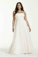 Wholesale Lace Mermaid Strapless Wedding Dresses - Strapless Chiffon Empire Waist Plus Size Wedding Dress 9V9743 Applique Lace Beading 28W Bridal Gowns Customized Made