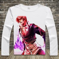 Wholesale Iori King Fighters - Hot Game The King Of Fighters Print T-shirts Iori Yagami Long Sleeve Men Casual Tops Mai Shiranui Unisex Spring Autumn Tees