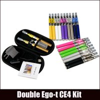 Wholesale Ego Clearomizer Double - Ego-t Double starter kits electronic cigarette CE4 atomizer clearomizer 650mah 900mah 1100mah 1300mah battery ego t battery ego dual kits