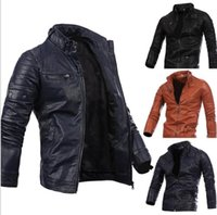 Wholesale long sleeve leather - Men Locomotive Coat Leisure Leather Jackets Zipper Casual Jumper Winter Outerwear Fashion Overcoat Top Outerwear Men's Clothing KKA2728