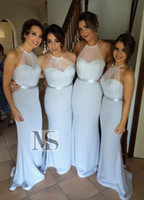 Wholesale cheap sexy dresses for juniors - Wholesale Mermaid Blue Long Tulle Junior Bridesmaid Dresses For Weddings Sexy Cheap Party Prom Dresses 2016