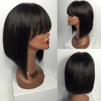 Wholesale Silk Top Bob Lace Wig - glueless full lace short bob wig full lace human hair wigs with bangs silk top lace wig
