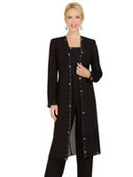 Wholesale Party Wear Designer Suits - Designer 3 Piece Mother Chiffon Pant Suits Mother Of The Bride Pant Suits with Long Jacket vestidos de fiesta Elegant Evening Party Wear