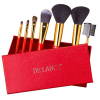 Wholesale wood box gift sets online - De Lanci Makeup Brushes Set Concealer Foundation Powder Eye Shadow Brush Beauty Red Handle Box Christmas Gift For Women