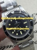 Wholesale Old Antique Watches - Old Style Vintage Mens Mechanical Movement Black Dial Bezel Watch Men Full Steel Sports Men's Antique Dive Top Quality AAA Watches