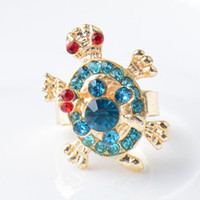 Wholesale Tortoise Ring Gold - Tortoise Mother And Baby Ring Gold Plated Cute Charm Finger Rings Full Rhinestone Ring Crystal Jewelry For Woman