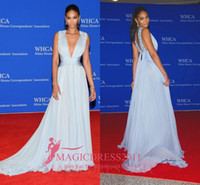 Wholesale Cannes Royal Blue - CHANEL IMAN Blue Sleeveless Plunging RED CARPET DRESS 2016 Cannes Deep V-Neck Long Chiffon Crystal Beaded Celebrity Evening Formal Gowns