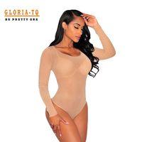 macacão transparente venda por atacado-Atacado-Bodycon Jumpsuit Sexy Transparente Bodysuits Mulheres manga comprida Sheer Mesh Bodysuit Ver Através Bodysuit Bodysuit Nu Gola