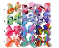 Wholesale Cartoon Ribbon Hair Clips - MyAmy Grosgrain Ribbon 6'' Hair Bows With Alligator Clips Cartoon Boutique Rainbows hairbow 6 inches bows 24pcs lot
