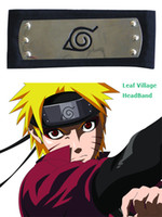 Wholesale Hidden Leaf - Wholesale-Free Shipping Naruto Hidden Leaf Village Konoha Black   Red Ninja Headbands Anime Cosplay Accessories