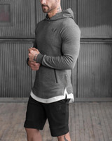 Wholesale Muscle Fitness Brothers Spring and Autumn Europe and the United States long sleeved hooded outdoor sweater men tight sports training clothes